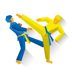 Two taekwondo fighters martial arts competition vector