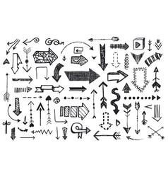 ve tor set hand drawn arrows illustration vector image