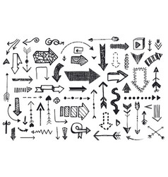 Ve tor set hand drawn arrows llustration of vector
