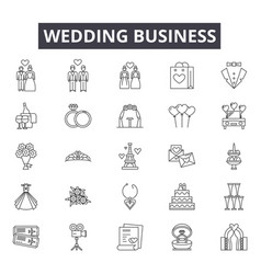 wedding business line icons signs set vector image