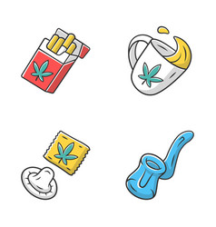 Weed products color icons set cbd cigarettes and vector