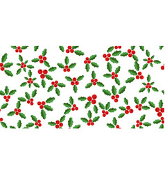 white background with hollyberries vector image