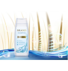 white plastic packaging with hair shampoo vector image