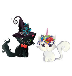 witch and unicorn kittens vector image