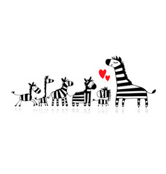 Zebra family mother and children sketch for your vector