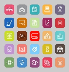 Business management line flat icons vector image