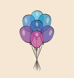 color glossy balloons fun celebration of holidays vector image