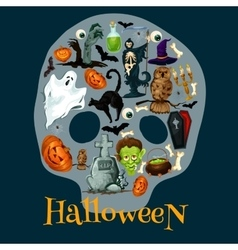 Halloween holiday flat icons in shape of skull vector image