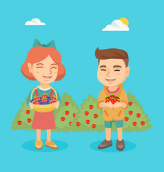 Little boy and girl with strawberry and blueberry vector