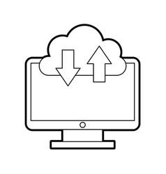 computer desktop with cloud computing vector image vector image