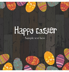 easter eggs on wooden backround vector image vector image