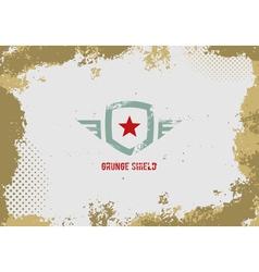 Grunge shield design element on grunge background vector image