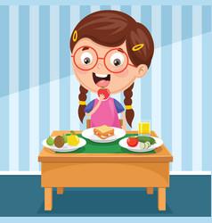 kid having breakfast vector image