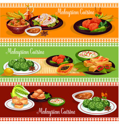Malaysian restaurant banner with exotic dishes vector