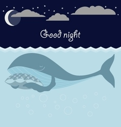 Ocean sleeping whales Good night card vector image