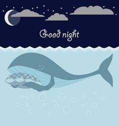 Ocean sleeping whales Good night card vector image vector image