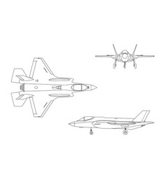 outline drawing of military aircraft vector image