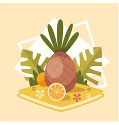pineapple icon summer sea vacation concept vector image