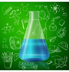 test tube and hand draw school icon vector image vector image