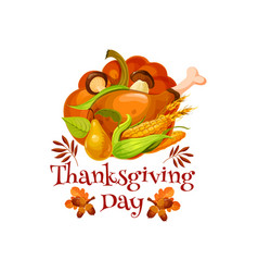 thanksgiving day poster for autumn holiday design vector image vector image