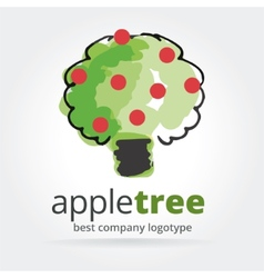 Abstract apple tree logotype isolated on white vector image vector image