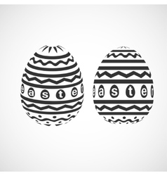 decorative Easter egg with monochrome ornament vector image