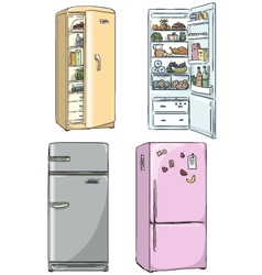 set of four hand drawn cartoon fridges vector image vector image