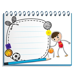 A notebook with a drawing of a boy with the vector image