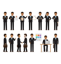 black businessman people characters vector image vector image