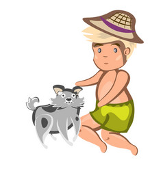 boy playing with dog vector image vector image