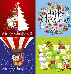 Christmas card in four designs vector image