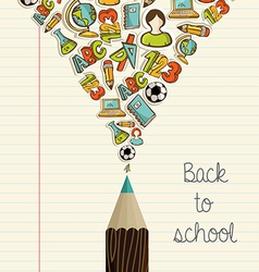 Education icons back to school pencil vector image vector image