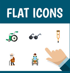 flat icon disabled set of equipment ancestor vector image vector image