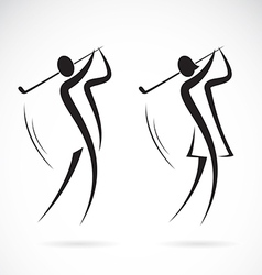image of an male and female golfers design vector image