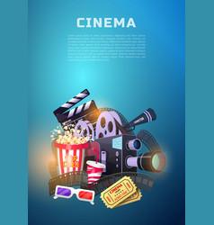 movie elements set vintage cinema entertainment vector image