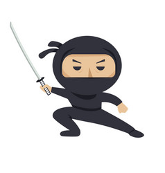 ninja character serious ninja with sword flat vector image