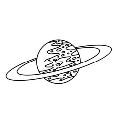 saturn icon outline style vector image vector image