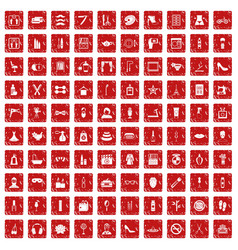 100 beauty and makeup icons set grunge red vector image
