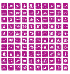 100 children icons set grunge pink vector