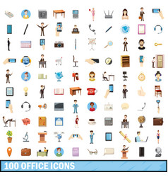 100 office icons set cartoon style vector