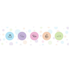5 rodent icons vector