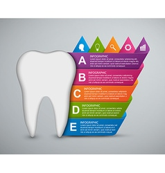 Abstract infographic tooth and colored ribbons vector