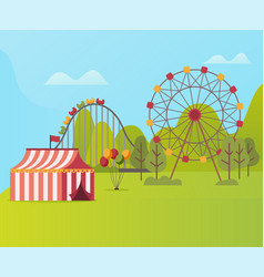 amusement park with tent ferris wheel and carousel vector image
