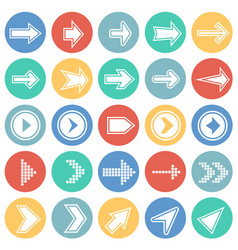 arrows icons set with outline on color circles vector image