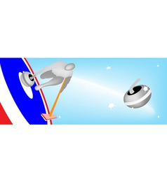 Athlete playing curling sport on ice sheet vector