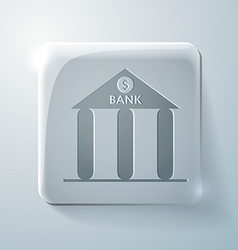 bank building Glass square icon vector image