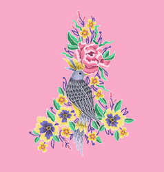 bird and peonies flowers embroidery vector image