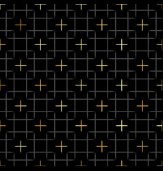 Black squares and gold star geometric pattern in vector