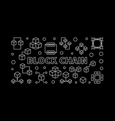 Block chain outline horizontal vector