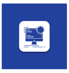 blue round button for internet layout page site vector image